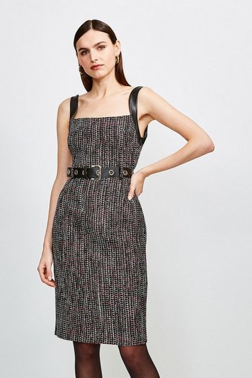 Pink Tweed Eyelet Belted Dress