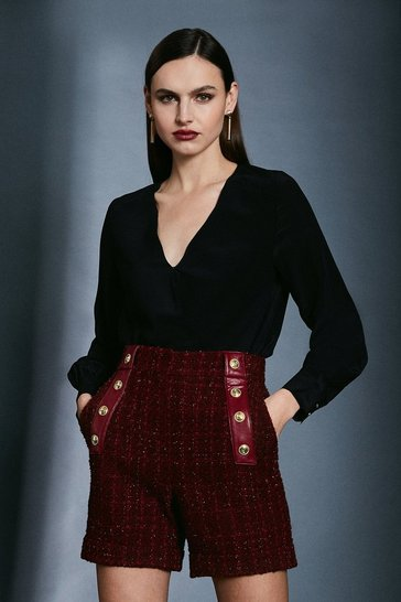 Merlot Sparkle Tweed Button Detail Short