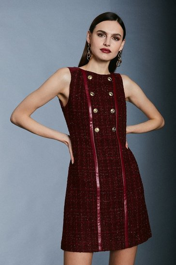 Merlot Sparkle Tweed Button Front A Line Mini Dress