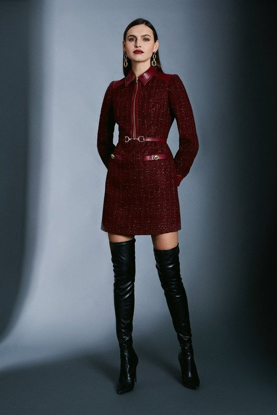 Merlot Sparkle Tweed Military Belted Dress