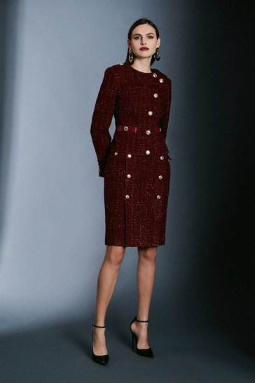 Merlot Sparkle Tweed Pencil Skirt