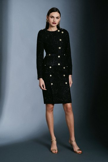Black Military Sparkle Tweed Jacket