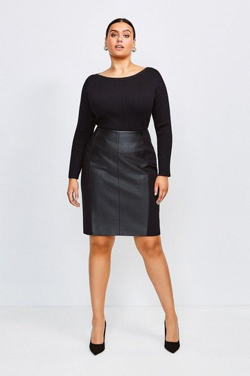 Black Curve Faux Leather Ponte Panelled Skirt
