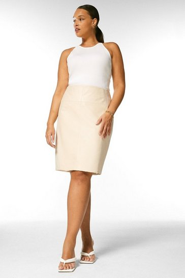 Cream Curve Faux Leather Ponte Panelled Skirt