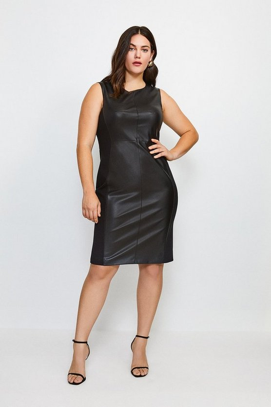 Black Curve Faux Leather Panelled Dress