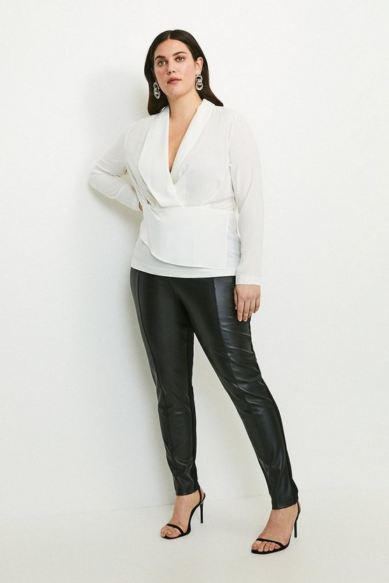 Black Curve Faux Leather And Ponte Leggings