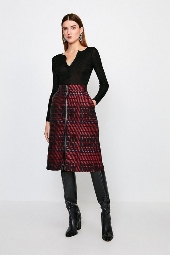 Multi Check Zip Front Midi Skirt