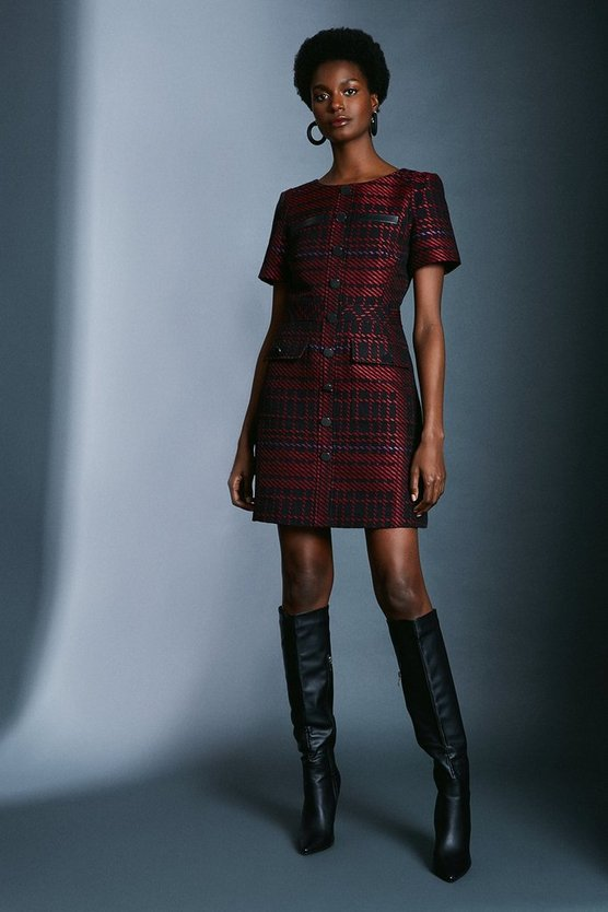 Multi Check Utility Dress