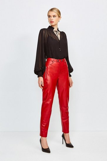 Red Leather Cargo Trouser