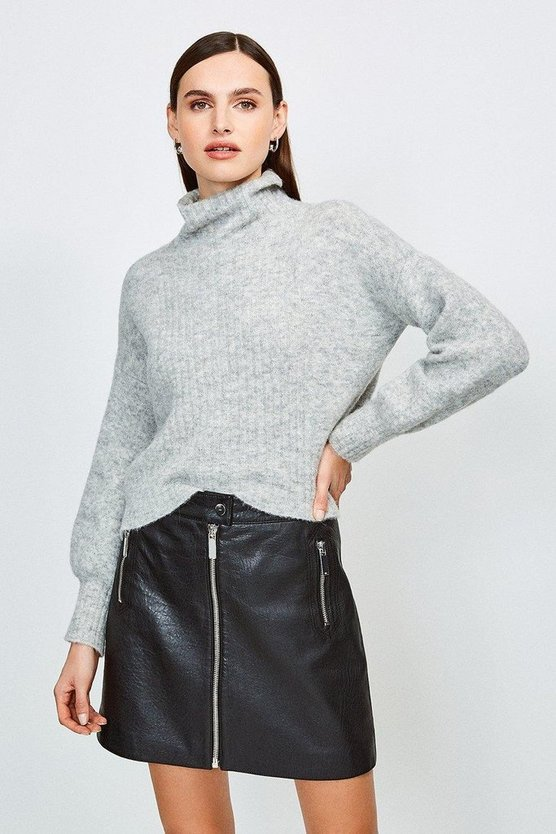 Black Textured Leather Zip Skirt