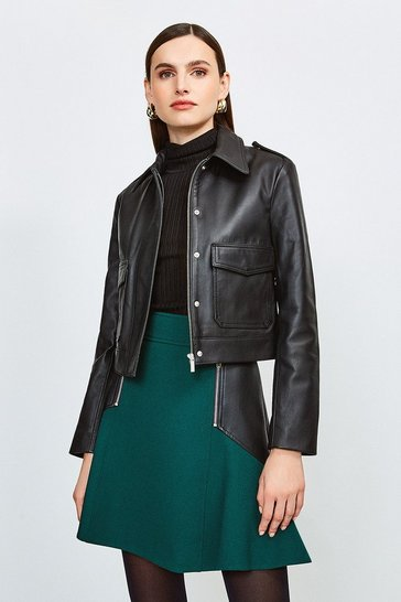 Black Leather Short Pocket Moto Jacket