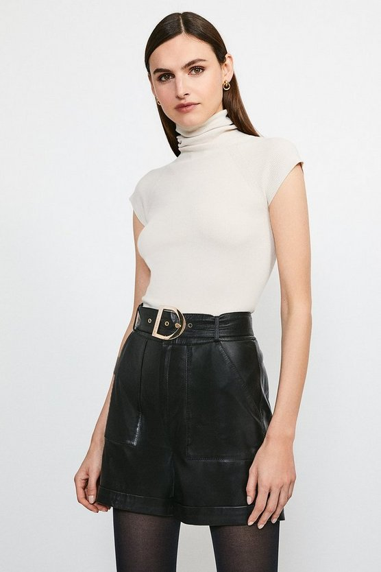 Black High Waist Leather Belted Short