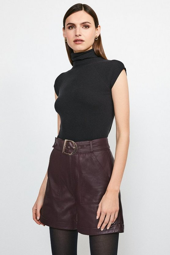 Fig High Waist Leather Belted Short