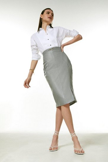 Grey Leather Snaffle Trim Pencil Skirt