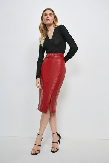 Red Leather Snaffle Trim Pencil Skirt