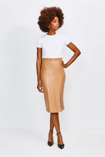 Tan Leather Snaffle Trim Pencil Skirt