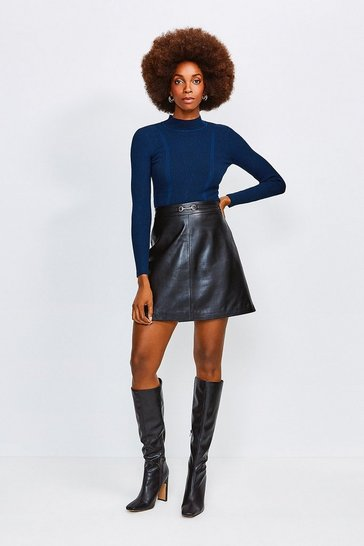 Black Leather Snaffle Trim Mini Skirt