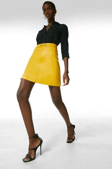 Mustard Leather Snaffle Trim Mini Skirt