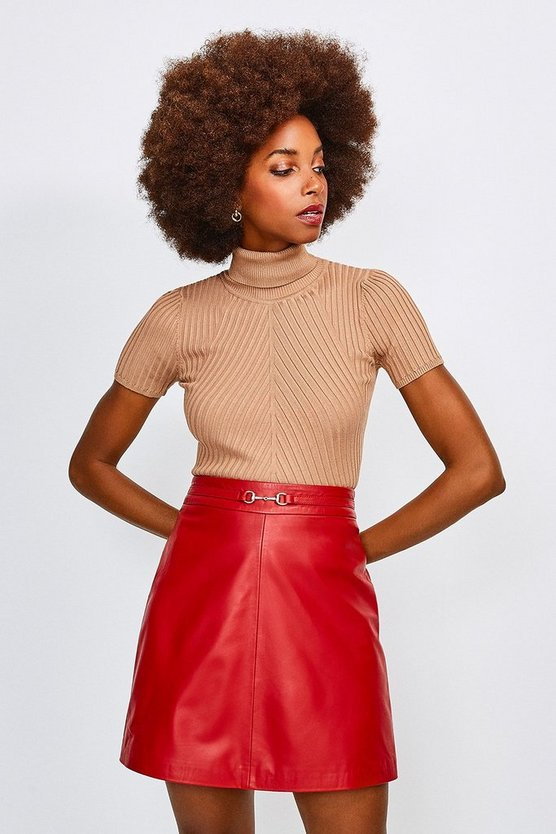Red Leather Snaffle Trim Mini Skirt