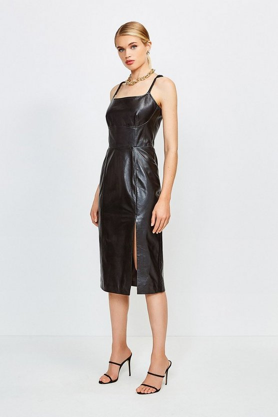 Black Leather Strappy Pencil Dress