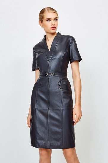 Navy Leather Snaffle Trim Pencil Dress