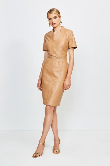 Tan Leather Snaffle Trim Pencil Dress