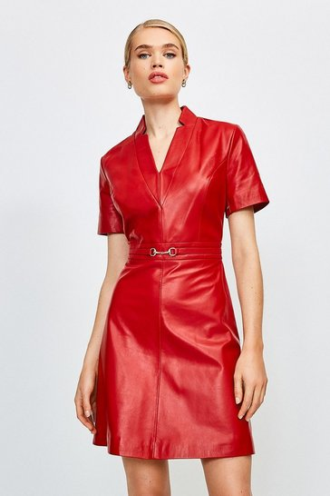 Red Leather Snaffle Trim A-Line Dress