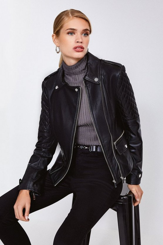 Black Leather Quilted Patch Biker Jacket