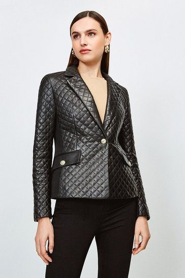 Black Leather Quilted And Jersey Blazer