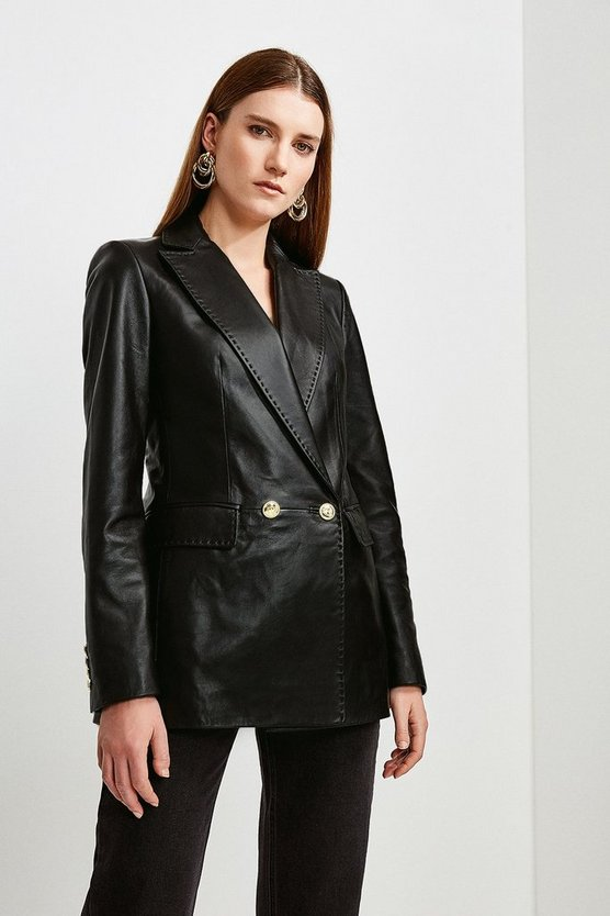 Black Leather Fitted Double Breasted Jacket