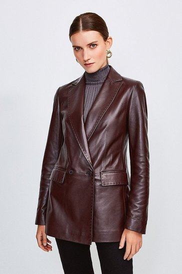 Fig Leather fitted double breasted Jacket
