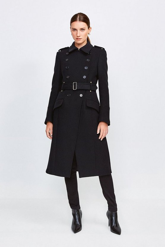 Black Italian Wool Blend Trench Coat