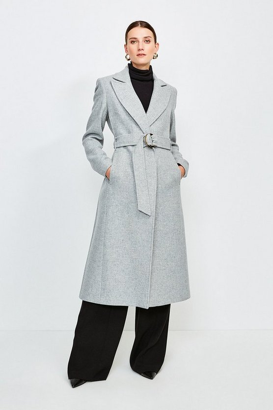 Grey Ring Belted Classic Wool Coat