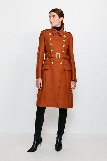 Rust Longline Wool Trench