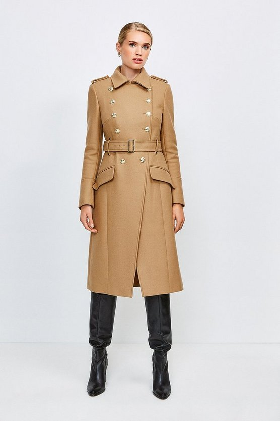 Camel Italian Wool Blend Trench Coat