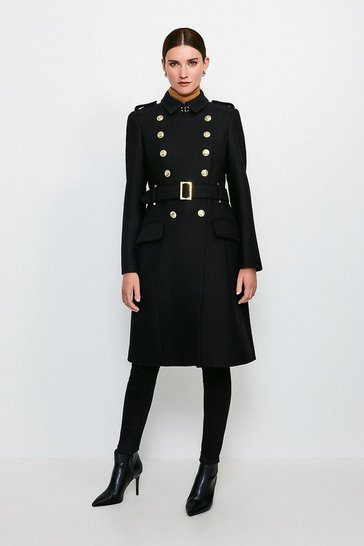 Black Longline Wool Trench