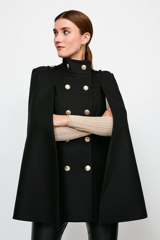 Black Military Button Cape