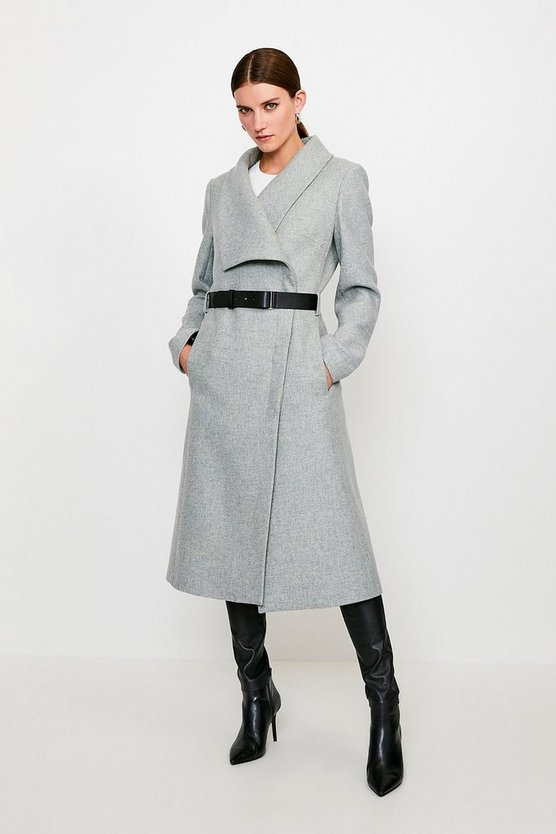 Grey Belted Wrap Collar Coat