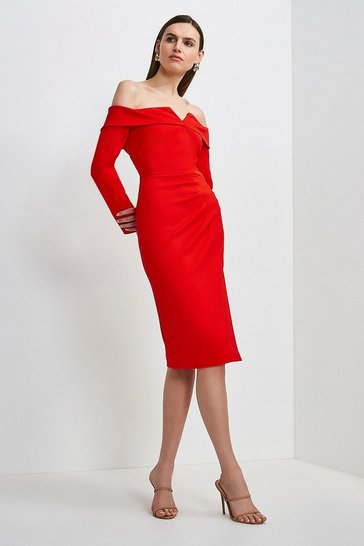Red Italian Structured Jersey Bardot Long Sleeve Dress