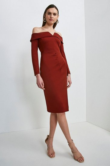 Rust Italian Structured Jersey Bardot Long Sleeve Dress