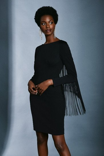 Black Italian Structured Jersey Fringe Dress