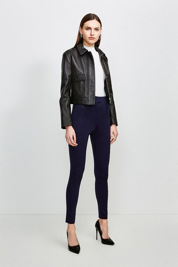 Navy Italian Structured Jersey Leggings
