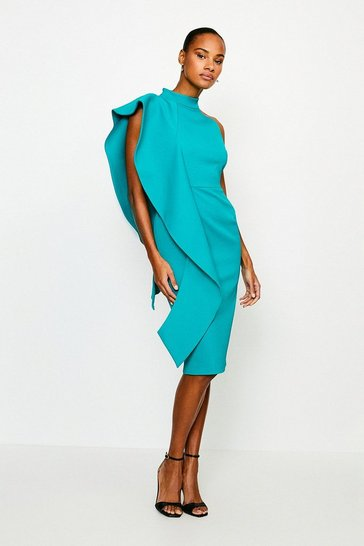 Green Italian Structured Rib Frill Dress