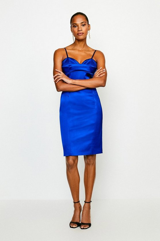 Cobalt Italian Satin Multi Stitch Pencil Dress