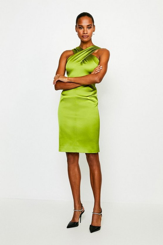 Chartreuse Italian Structured Satin Halter Neck Dress