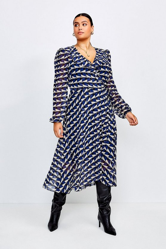Blue Curve Geo Print Wrap Dress