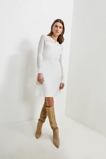 Ivory Zip Neck Pointelle Stitch Dress