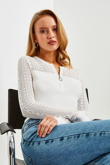 Ivory Zip Neck Pointelle Stitch Jumper
