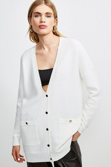 Ivory Texture Knit Slouchy Cardigan
