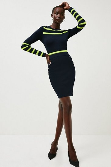 Navy Nautical Sheer Stripe Knit Dress